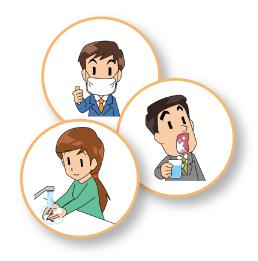 会社でのコロナ対策用「うがい」「手洗い」「マスク」啓発ポスター用イラスト無料配布