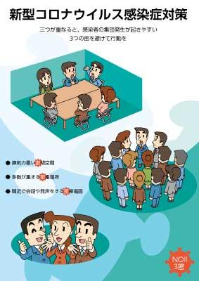 新型コロナウイルス感染予防ポスター 3密 防止啓発ポスター(無料配布)